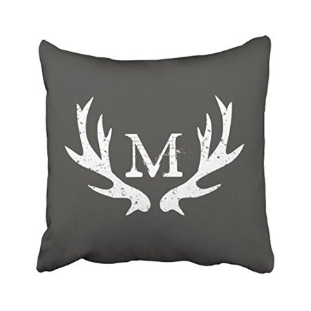 Monogram Cushion Cover (WinHome Decorative Monogram Deer Antler Pillow Cases Cushion Covers Size 18x18 inches Two Side)