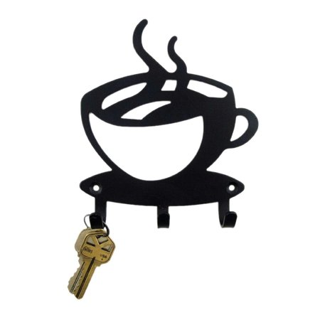 Black Metal Coffee Cup Silhouette Wall Art Key Holder for Home ...