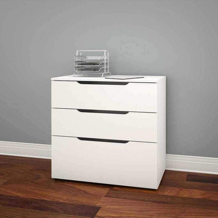 Nexera 3 Drawer Vertical Wood Filing Cabinet, White