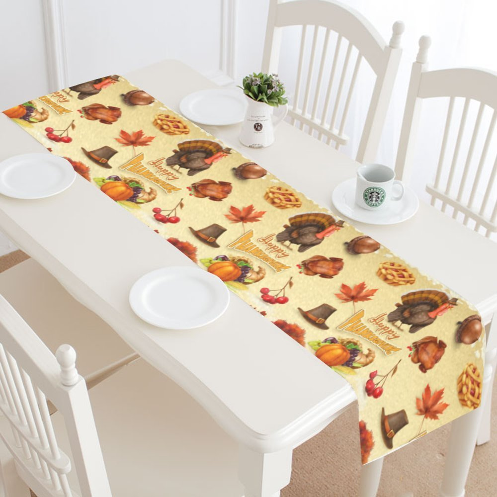 MYPOP Happy Thanksgiving Day Table Runner Home Decor 14x72  Inch,Thanksgiving Turkey Pumpkin Table Cloth