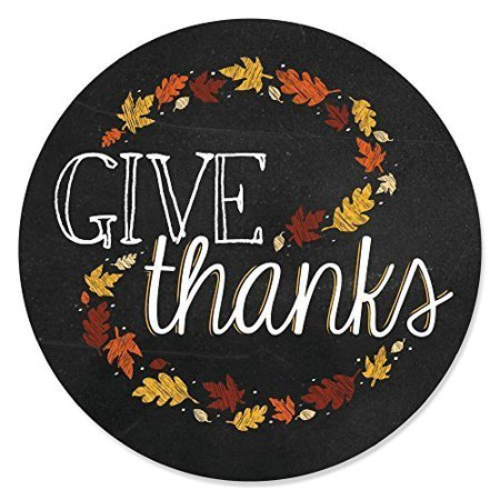Give Thanks - Thanksgiving Party Circle Sticker Labels - 24 Count - Thanksgiving Parties