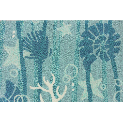 Homefires Indoor/Outdoor Hooked Turquoise/White Indoor/Outdoor Area Rug