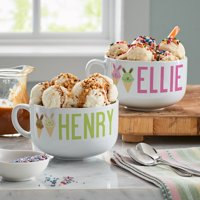 PersonalizedSweet Bunny Treats Ice Cream Bowl - Available in Green or Pink