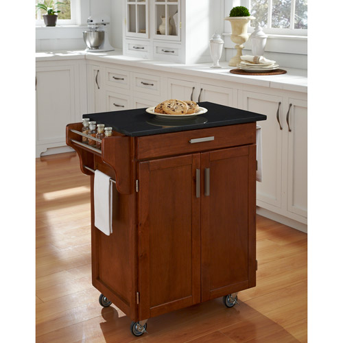 Home Styles Kitchen Cart, Cottage Oak With Black Granite Top