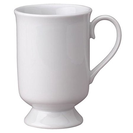 HIC Vintage Style Pedestal Coffee and Tea Mug, High Fired Porcelain, Classic White, 9-Ounces (Style Coffee Mug)