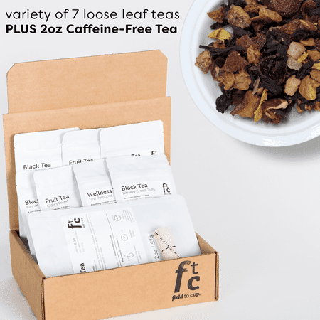 Field to Cup Tea Discovery Box Plus - 8 high quality loose leaf teas - 60+ cups (3.5oz) - Caffeine-Free Tea