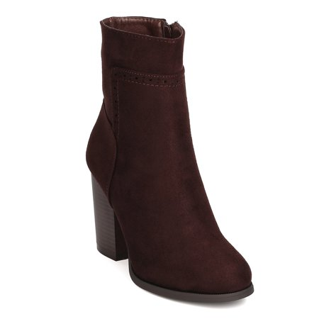 Brown Suede High Heel - Refresh FG21 Women Faux Suede Round Toe Chunky Heel Ankle Boot
