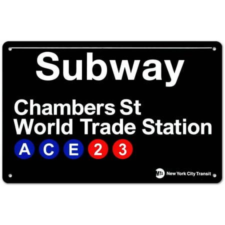 Subway Chambers Street- World Trade Station Tin Sign - 17x11 (Mta Subway Sign)