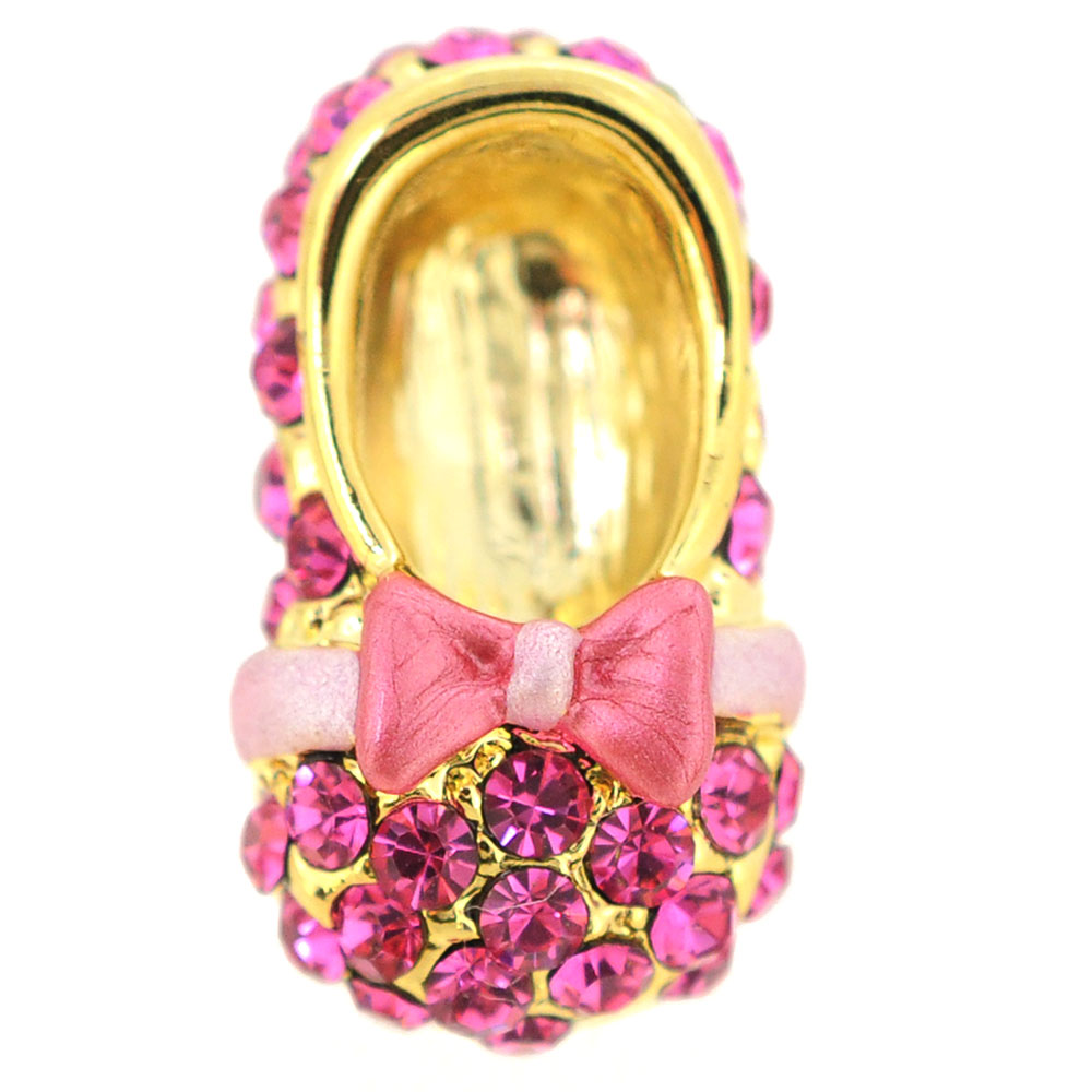 Pink Bow Flat Crystal Shoes Brooch Pin by