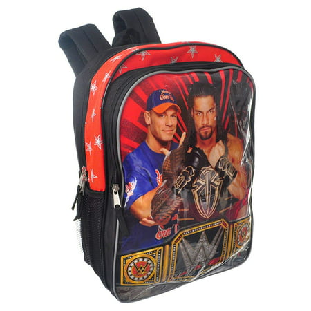 WWE 16 inch Kids School Backpack with Side Mesh Pockets for