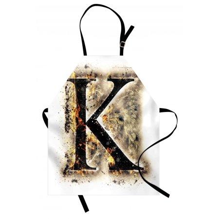 Blaze Bib (Letter K Apron Smoked Letter K Alphabet in Blaze with Grunge Design Ignited Writing Symbol, Unisex Kitchen Bib Apron with Adjustable Neck for Cooking Baking Gardening, Tan Black Orange, by Ambesonne)