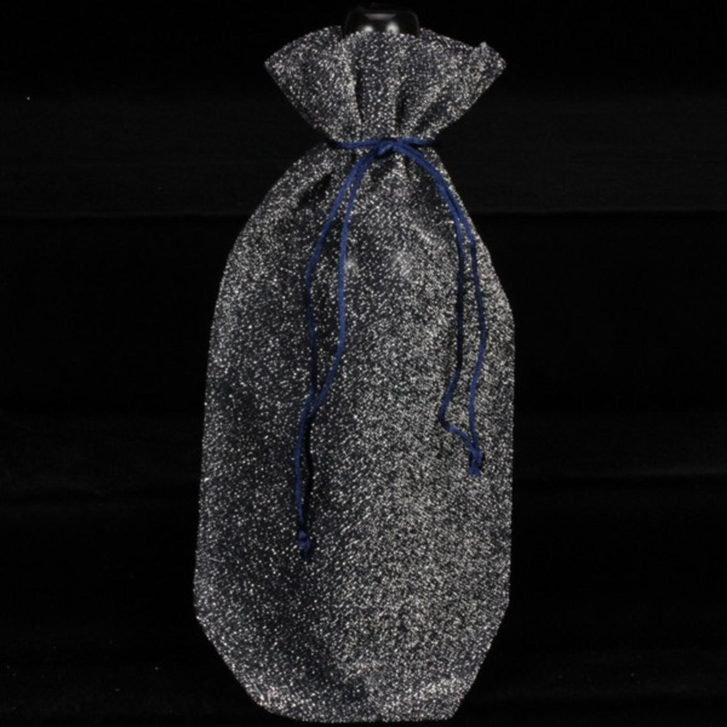 "Pack of 6 ""Silver Fuzz"" Bottle Tie Close Silver Black Gift Bags 13"""