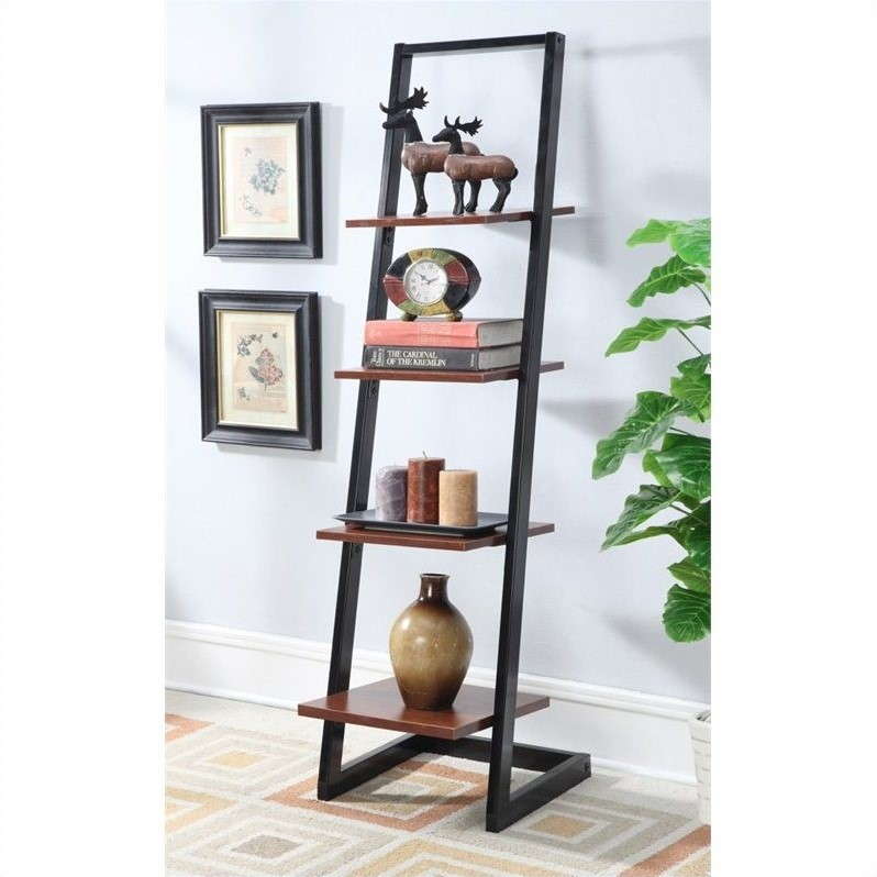 Convenience Concepts Designs2Go 4 Tier Ladder Bookshelf In Black And Cherry
