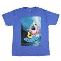 Men's SpongeBob SquarePants Shirt Surfing With Shark Heather T-Shirt