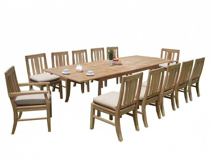 """13 PC A Grade Outdoor Patio Teak Dining Room Set 117"""" Double Extension Rectangle Table & 12 Osawa Chairs... by"""