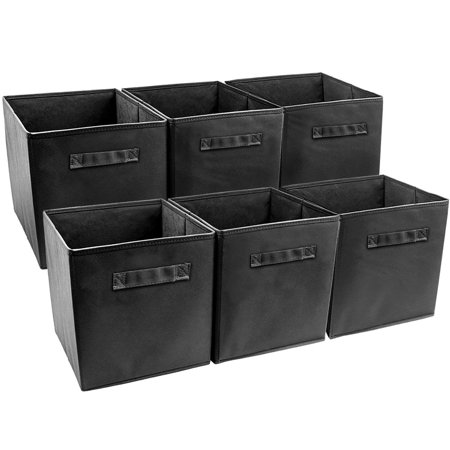Yosoo Set of 6 Basket Bins Collapsible Storage Organizer Boxes Cube for Nursery Home Shelves and Office - Halloween Decorations For Office Cube