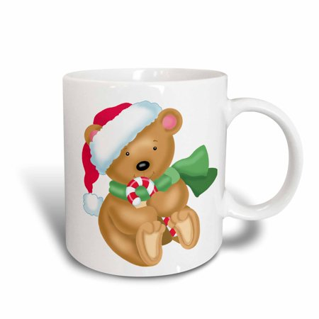3dRose Cute Little Santa Bear Illustration With A Candy Cane, Ceramic Mug, 11-ounce