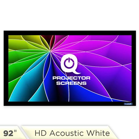 QualGear 92-Inch Fixed Frame Projector Screen, 16:9 4K HD High Definition 1.0 Gain Acoustic White (QG-PS-FF6-169-92-A)