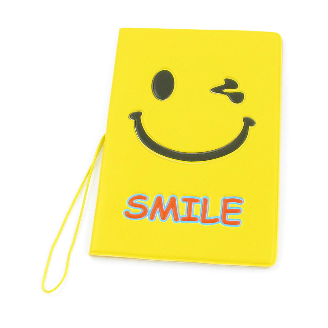 Faux Leather Smiley Pattern Wallet Case Holder Protector Yellow for Passport - image 1 of 1