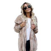 Womens Long Oversized Hoodie Loose Knitted Sweater Cardigan Outwear Coat Faux Fur Long Sleeve Overcoat Winter