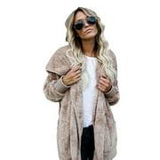 Womens Long Oversized Hoodie Loose Knitted Sweater Cardigan Outwear Coat Faux Fur Long Sleeve Overcoat Winter