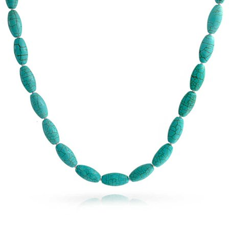 - Aqua Knotted Oval 8mm Bead Strand  Compressed Turquoise Necklace For Women Silver Plated Clasp 18 Inch