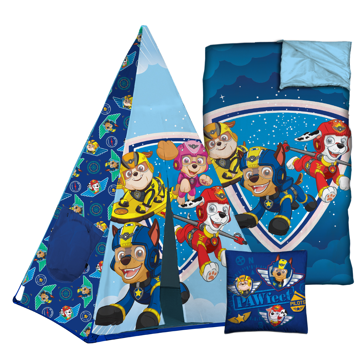 Nickelodeon Paw Patrol Teepee Tent Sleeping Bag Set with BONUS pillow