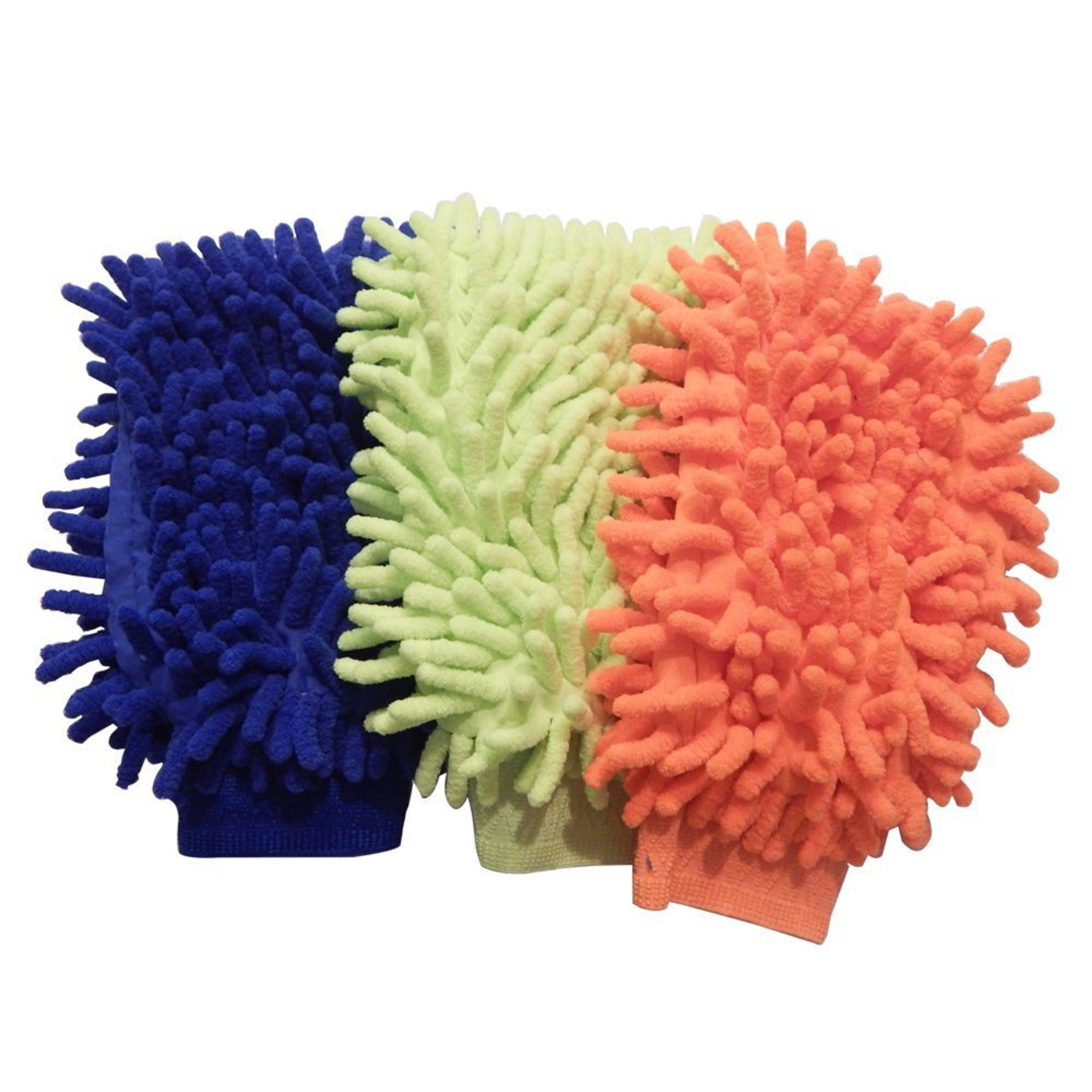 3 Pack Car Washing Microfiber Chenille Mitt Big Soft Cleaning Gloves Lint Free
