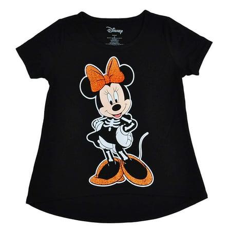 Girls Minnie Mouse Skeleton T-Shirt Black Small 7/8