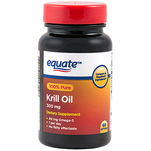 Equate MegaKrill 100% Pure Krill Oil Dietary Supplement Softgels, 300mg, 60 count