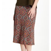 Bobeau NEW Orange Women's Size XS Geometric Print Stretch Knit Skirt