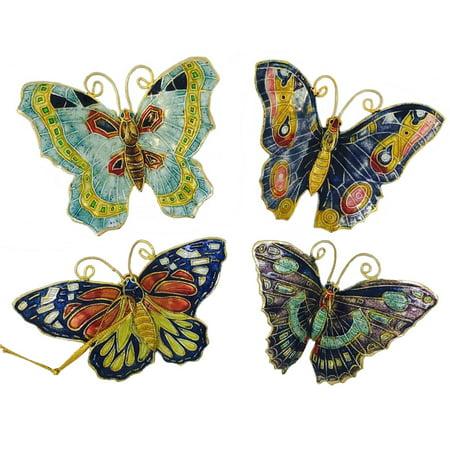 Aqua Butterflies Cloisonne Metal Christmas Tree Ornaments Set of 4 Butterfly New