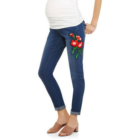 603d34c3dbcb7 Planet Motherhood - Maternity Over-Belly Seamless Banded Denim Jeans With  Side Floral Applique - Walmart.com