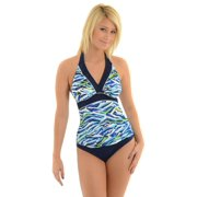 Womens Miraclesuit Swimsuit Tankini Bathing Suit Slimming Blue Print 2 Piece