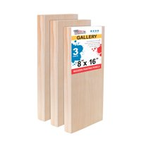 """U.S. Art Supply 8"""" x 16"""" Birch Wood Paint Pouring Panel Boards, Gallery 1-1/2"""" Deep Cradle (Pack of 3)"""