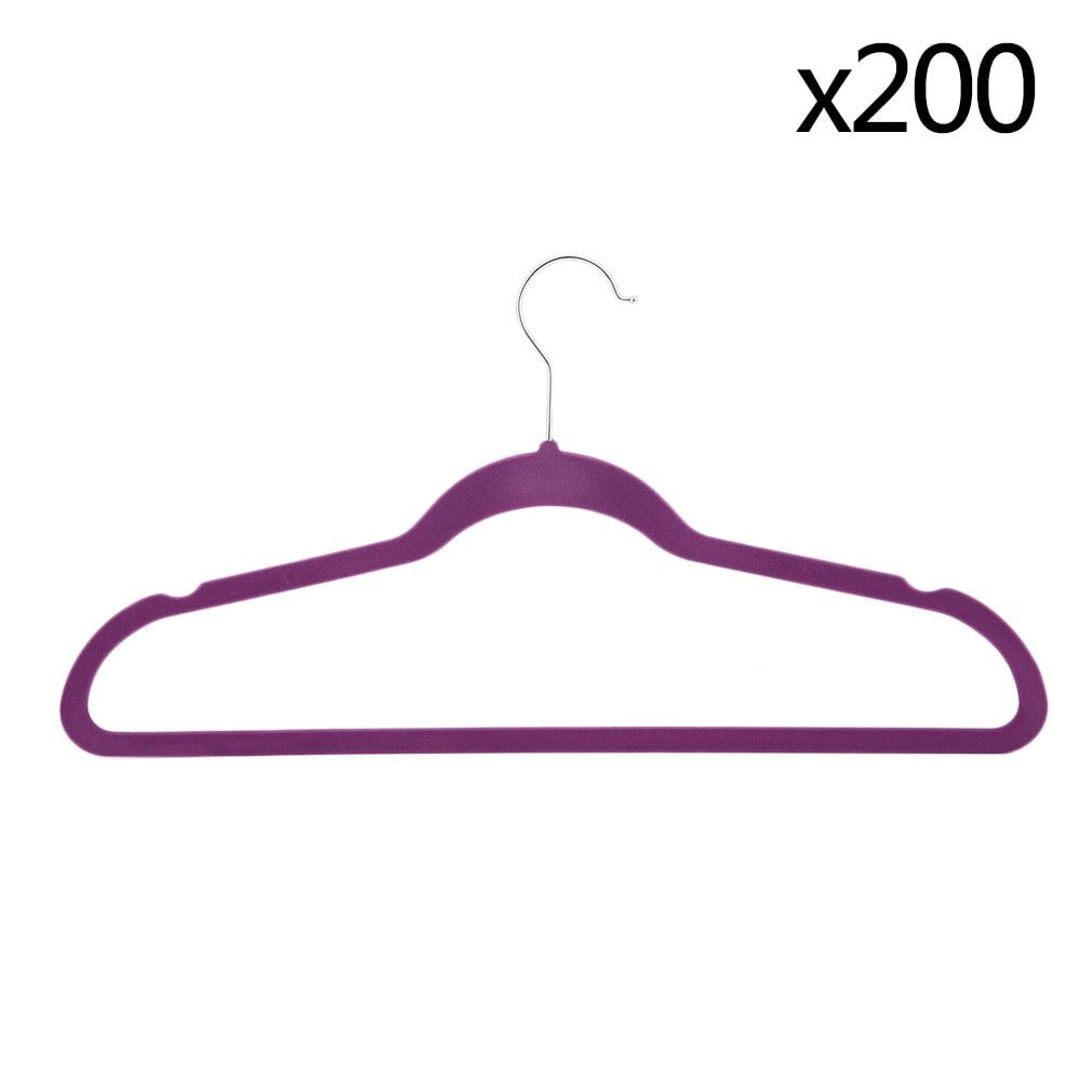 Black   Purple Velvet Non-Slip Thin Clothes Hangers Space Saving Helper by