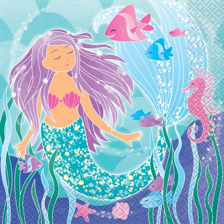 Breeze Luncheon Napkins - Mermaid Paper Luncheon Napkins, 6.5in, 16ct