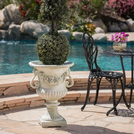 Alexia Vista Outdoor 24 Inch Light Weight Concrete Urn, White Moss ()