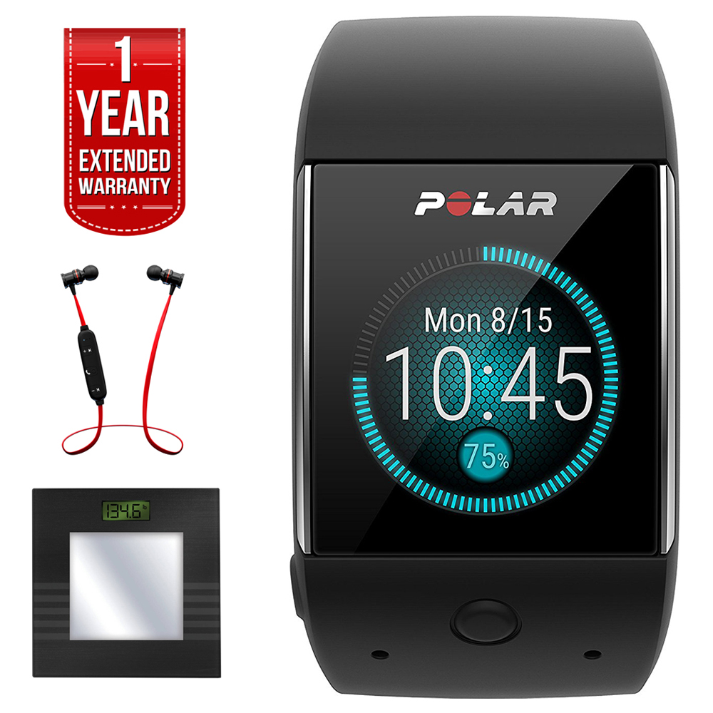 Polar M600 Sports GPS Smart Watch Black (90063087) + Bally Total Fitness Bluetooth Digital Body Mass Bathroom Scale (Black) + Fusion Bluetooth Headphones Black/Red + 1 Year Extended Warranty