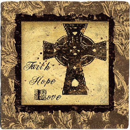 Thirstystone Ambiance Drink Coasters Set, Cross of Faith, Travertine