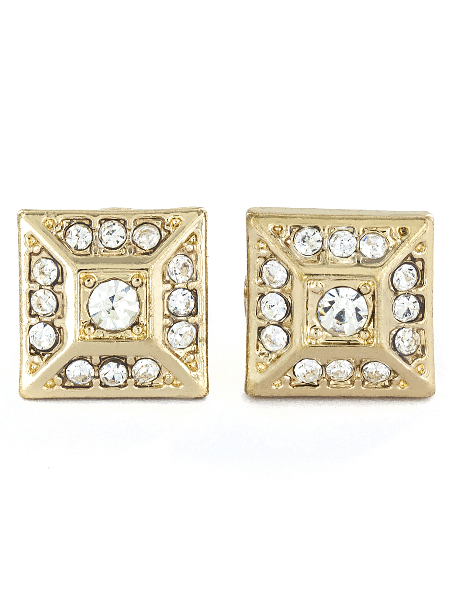 Gold Micro Pave Crystal Square Pyramid Stud Post Earring
