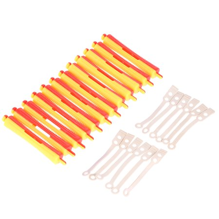 12 Pieces Salon Cold Wave Rods Hair Roller With Rubber Band Curling Curler Perms Hairdressing Styling Tool for Girls Women Hair