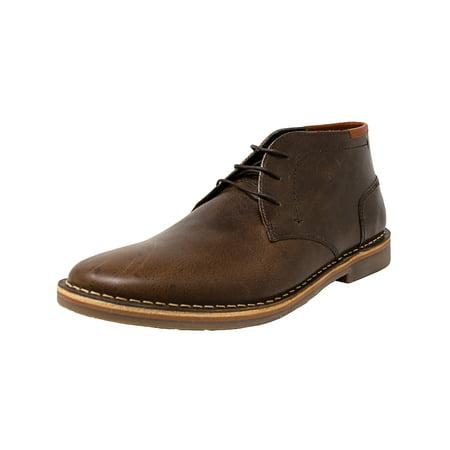 f0fceaccbf4 Steve Madden Men's Hestonn Dark Brown Mid-Top Leather Boot - 7.5M ...