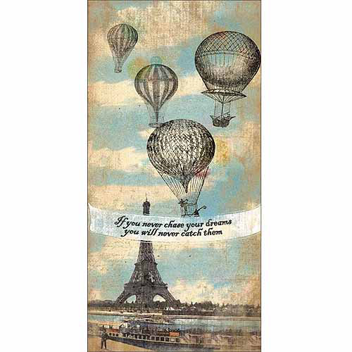Chase Dreams Hot Air Balloon Eiffel Tower Paris Inspirational Typography Tan & Blue Canvas Art by Pied Piper Creative