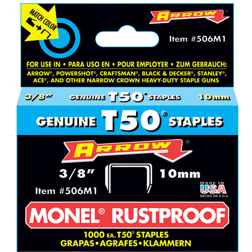 "Arrow Fastener Co. 506M1 3/8"" T50 Monel Staples"