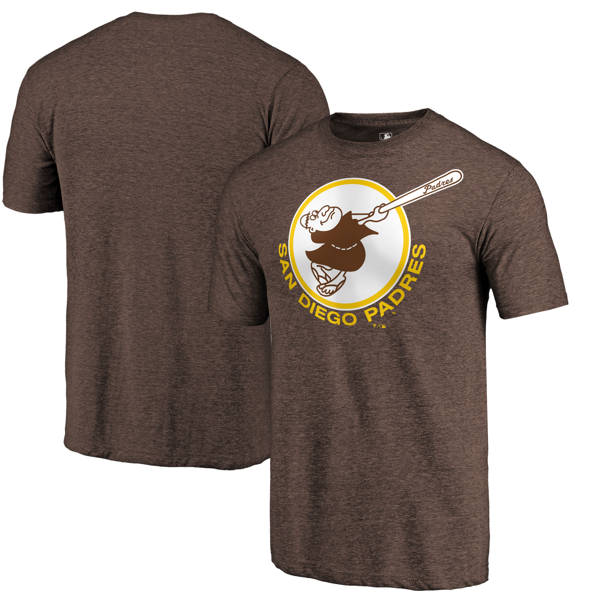 San Diego Padres Fanatics Branded Cooperstown Collection Forbes Tri-Blend T-Shirt - Heathered Brown