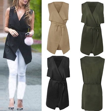 EFINNY Women Lapel Sleeveless Long Waistcoat Blazer Jacket Vest Cardigan - Kids Green Blazer