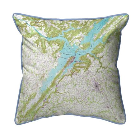 Betsy Drake ZP611 22 x 22 in. Lake Guntersville, AL Nautical Map Extra Large Zippered Indoor & Outdoor Pillow
