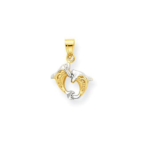 10K Yellow Gold & Rhodium Small Dolphin Pendant