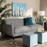 Baxton Studio Allister Mid-Century Modern Light Gray Fabric Upholstered Sofa